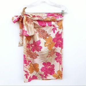 EXPRESS 100% Silk Wrap Tropical Floral Mini Skirt
